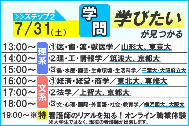 進研ゼミのオンラインオープンキャンパス 7月31日