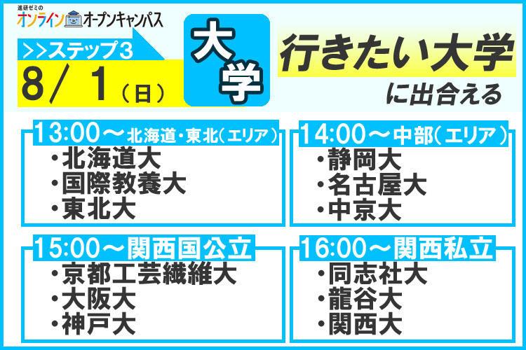 進研ゼミのオンラインオープンキャンパス 8月1日